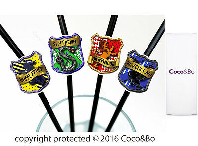 Coco&Bo 10 x Hogwarts Houses Party Straws Harry Potter Theme Table Decorations