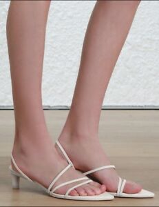 98337593d37 Details about Zimmermann Kitten Heel Strappy Sandal | Leather Shoes |  Ivory/ Off-White $550 RP