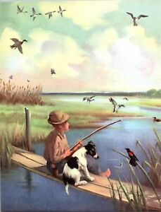 Mongrel-Mutt-Dog-Fishing-With-Boy-lake-Scene-Wesley-Dennis-Book-plate-print