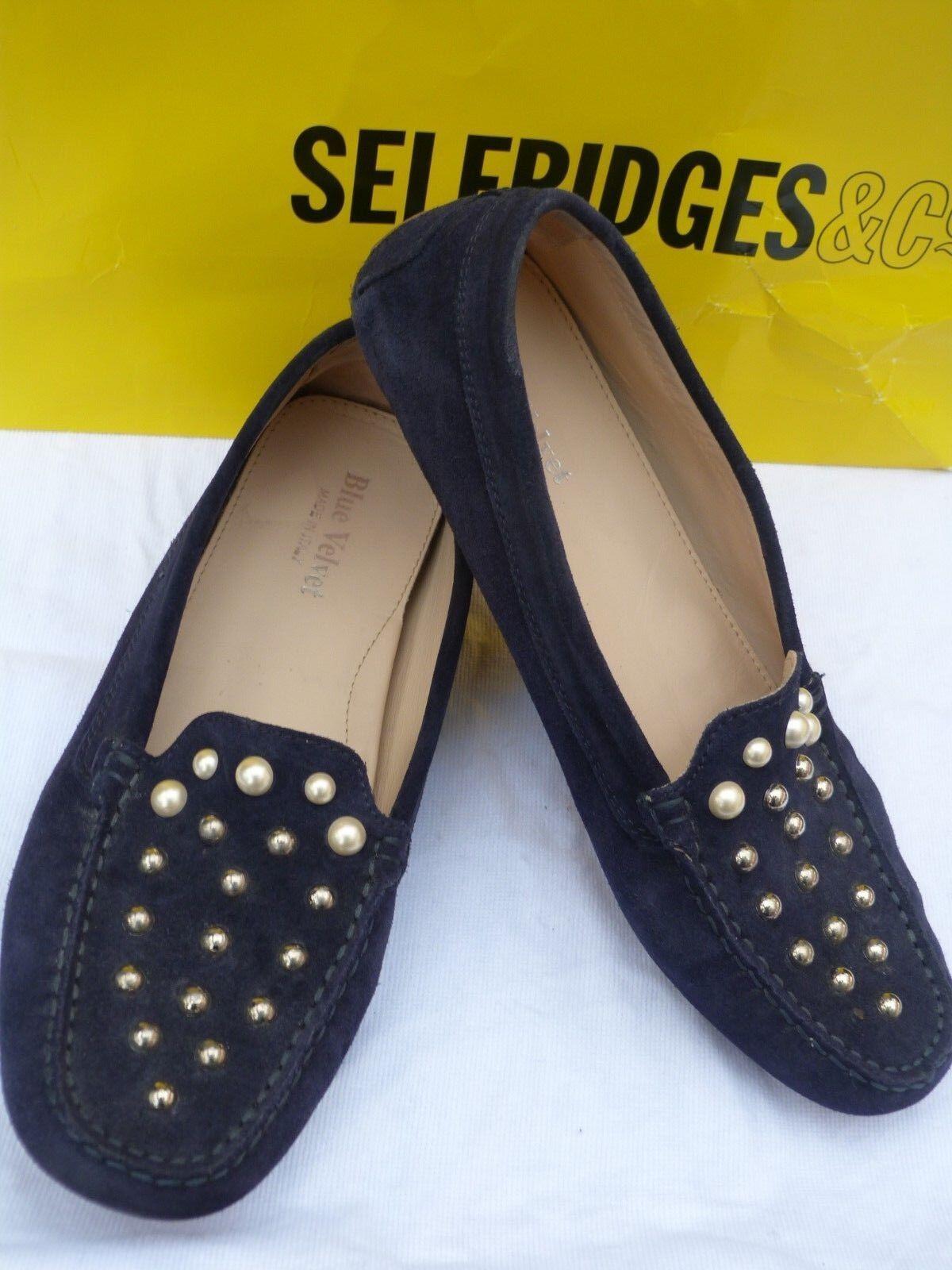 bluee Velvet women's moccasins size 8UK 41 navy sapatos damen sapozky