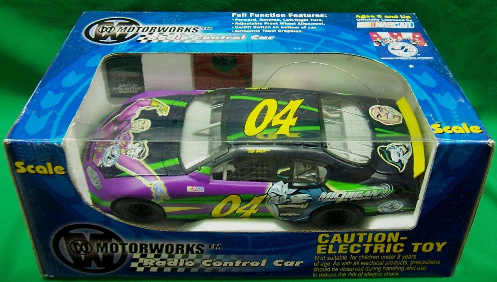 JUSTICE LEAGUE MOTORWORKS RADIO CONTROL CAR R C 1 32 SCALE THE JOKER NASCAR