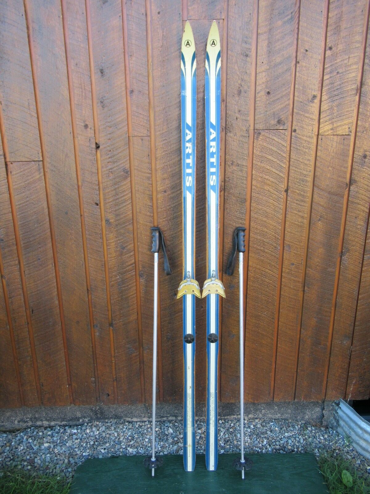 VINTAGE Wooden 75  Skis with White and bluee Finish + Signd ARTIS + Cable Binding
