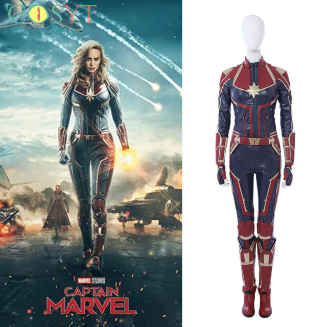 Captain Marvel Carol Danvers Cosplay Costume Leather Outfit Custom Made