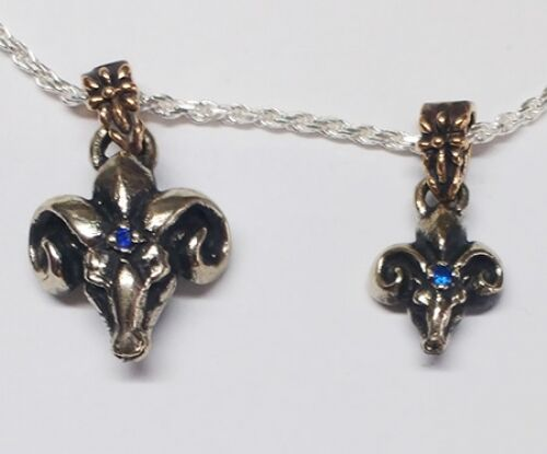 The Ram Big Silver Pendant with Sapphire