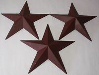 Hearthside Collection 12 Burgundy Metal Accent Stars Set Of 3 Primitive
