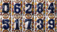 Mexican Tile Talavera Ceramic House Numbers Tile Blue