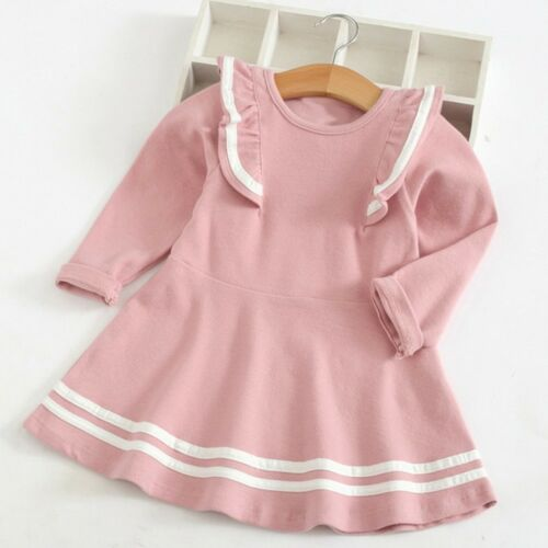 Toddler Kid Baby Girl Long Sleeve Dress Stripe Ruffles Party Princess Dress Tops