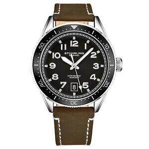 Stuhrling-Men-s-Quartz-Black-Dial-Luminous-Hands-Markers-Brown-Leather-Watch