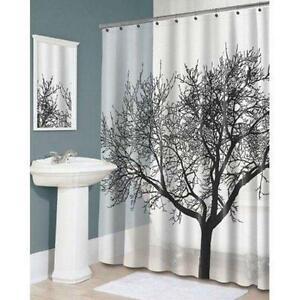 180cm-Bathroom-Shower-Curtain-Waterproof-Polyester-Fabric-Tree-Pattern-amp-Hooks