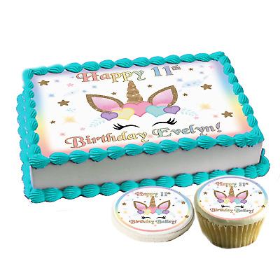 Unicorn face hearts Birthday Cake topper Edible paper sugar sheet cupcakes easy | eBay