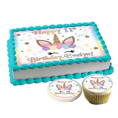 Astounding Unicorn Face Hearts Birthday Cake Topper Edible Paper Sugar Sheet Funny Birthday Cards Online Elaedamsfinfo