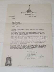 HOTEL-President-NEW-YORK-1945-Confirmation-reservation-signed-by-HOTEL-President