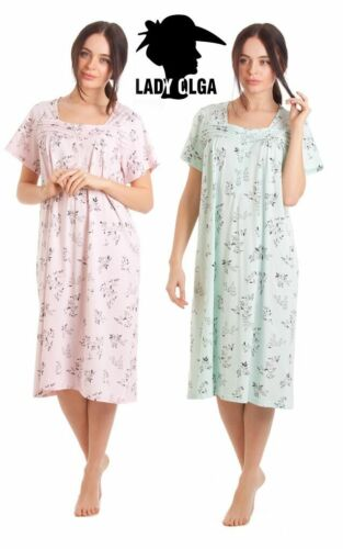 Ladies Nightdress Long Short Sleeve Soft Jersey Cotton Blend Sizes 10 to 24