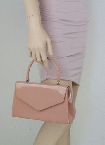 New Patent Clutch Bag Top Handle Handbag Small Hard Case Designer Celeb Envelope