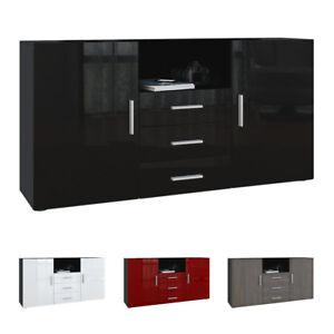 sideboard tv board anrichte kommode schrank m bel skadu schwarz hochglanz ebay. Black Bedroom Furniture Sets. Home Design Ideas