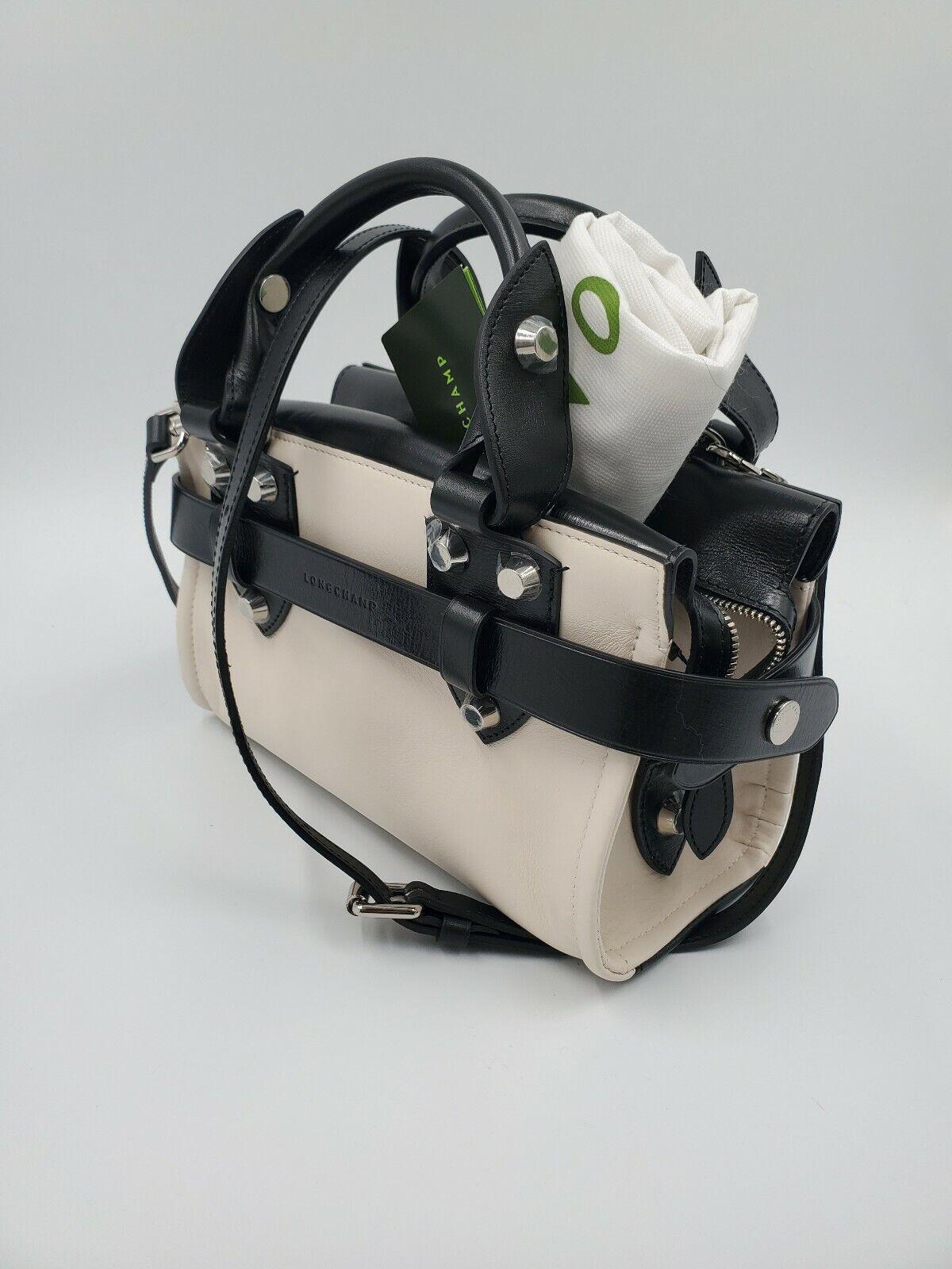 Longchamp La Voyageuse Top Handle Bag S Satchel Crossbody Ecru Black Leather