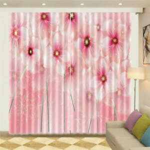 Pale Light Pink Peony 3D Curtain Blockout Photo Printing Curtains Drape Fabric