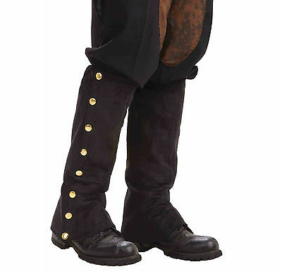 Black Suede Steampunk Boot Spats Victorian Industrial Adult Halloween Costume