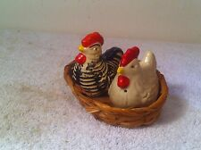 Vintage Hong Kong Salt and Pepper shaker Hen and Rooster on nest plastic