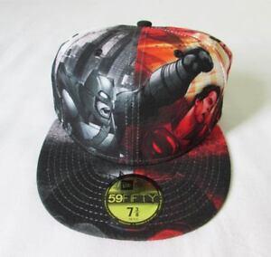 c5ea5fcbf61 NEW ERA CAP HAT 59FIFTY ALL OVER BATMAN VS SUPERMAN MOVIE DC COMICS ...