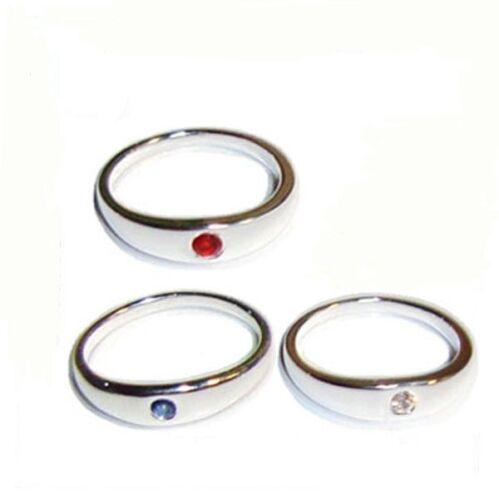 Taufring 925 Silber Kristall blau rot weiß Baby Taufe Tauf Ring Mädchen Jungen ★
