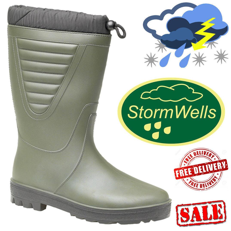Stormwells Polar Wellington Shoes Tie Top Thermal Wellies Waterproof Boots Green