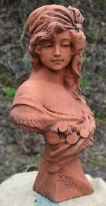 Femme Buste Bohème Gitane Stone Home Décoration De Jardin Terre Cuite Couleur 47cmH