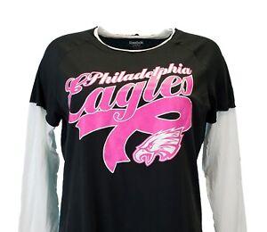 Details About Philadelphia Eagles Nfl Women S Breast Cancer Long Sleeve T Shirt Black Pink