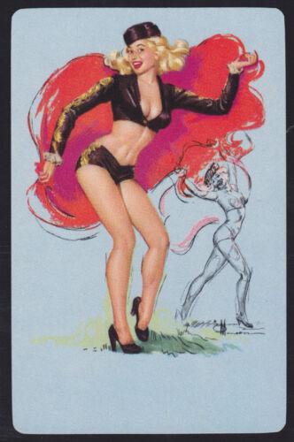 1 Single VINTAGE Swap//Playing Card PIN UP LADY MATADOR DANCER Artist Sign MUNSON
