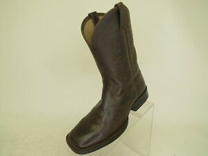 ARIAT-Dark-Brown-Leather-Western-Cowboy-Boots-Youth-Size-3