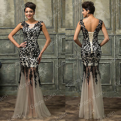 Women Formal Lace Long Dress Prom Evening Party Cocktail Bridesmaid Wedding Gown