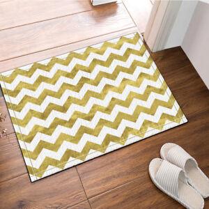 Image Is Loading Gold And White Chevron Floor Rug Carpet Mat