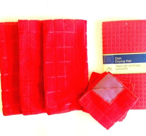 Kitchen Dish Hand 3 Towels 2 Dishcloths Drying Mat Set of 6 New Solid Red Color