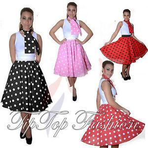 Image Is Loading New Ladies Women Polka Dot RockNRoll Poodle Skirt