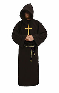Adult-All-Colours-Monk-Druid-Fancy-Dress-Cosplay-Pagan-Hooded-Robes-amp-Crucifix