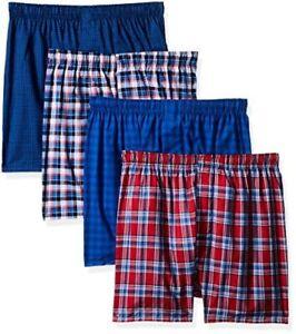Hanes-Mens-4-Pack-ComfortBlend-Woven-Boxers-W-FreshIQ-L-Select-SZ-Color