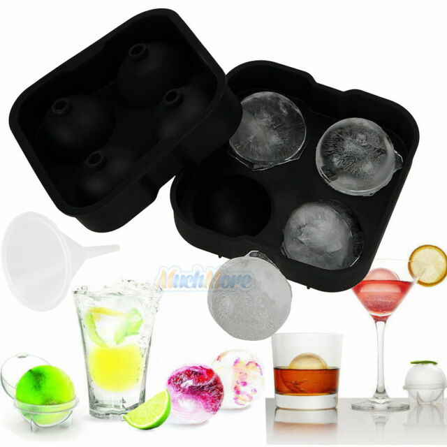 New Round Ice Balls Maker Tray FOUR Large Sphere Molds Cube Whiskey Cocktails US