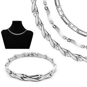 Ein Set Edelstahl Collier Und Armband Kette Halskette Silber Matt Glänzend