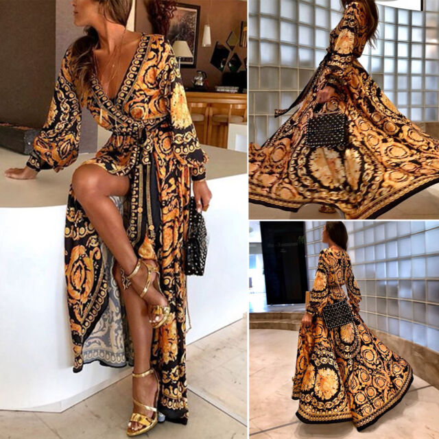 Womens Vintage Boho Floral Wrap Long Maxi Dress Belted Gown Summer Beach Dresses