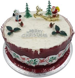 Details About 9 Piece Set Merry Christmas Cake Decorations Yule Log Cupcake Toppers