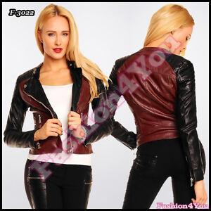 Women-039-s-Biker-Jacket-Ladies-Leather-Look-Claret-Black-Jacket-Size-8-10-12-14-UK