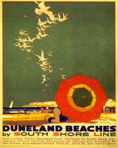 POSTER DUNELAND BEACHES SEAGULLS SOUTH SHORE LINE TRAVEL VINTAGE REPRO FREE S//H