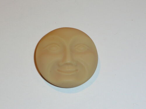 Big 31mm Moon Face Large Matte Bone Color Czech Glass Shank Moon Face Button