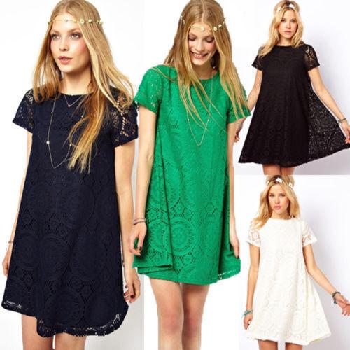 Sommer Damen Spitze Kleider Minikleid Maxikleid Longshirt Kurzarm Party Plussize