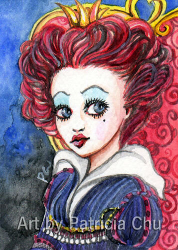 """ACEO LE Art Card Print 2.5/""""x3.5/"""" Red Queen In Her Throne Art by Patricia"""
