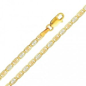 Italian Gold Chain >> Details About 14k Solid Tri Color Italian Gold Valentino Links Chain Necklace 2 6 Mm 18 24