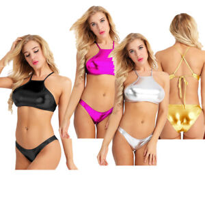 6a2ef48412 Womens Shiny Push Up Bikini Set Swimwear Swimsuit Bathing Suit Crop ...