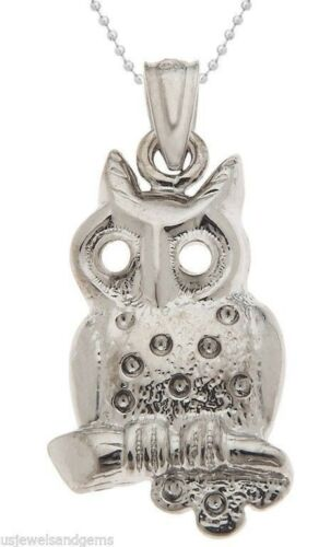 New 100/% 0.925 Sterling Silver Owl Hawk Bird Charm Pendant Necklace