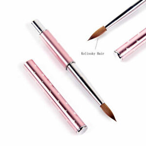 2x-Acrylic-Nail-Brush-8-10-Nail-Art-Kolinsky-Sable-Hair-Pink-Metal-Handle-Tool