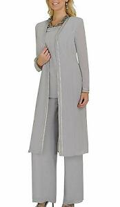 Women-039-s-Chiffon-Pant-Suits-with-Long-Sleeves-Jacket-Mother-of-The-Bride-Dresses